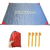 Estera de playa,AidSci Sin arena Manta de secado rápido Manta impermeable portátil para acampar al aire libre Acampar Senderismo 200 x 200 cm