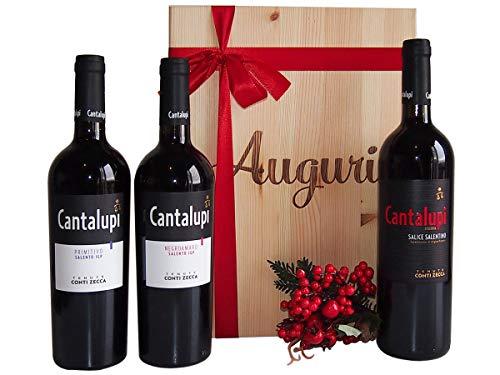 Vini pregiati in cassetta legno tenute conti zecca puglia - idee regalo vino per natale