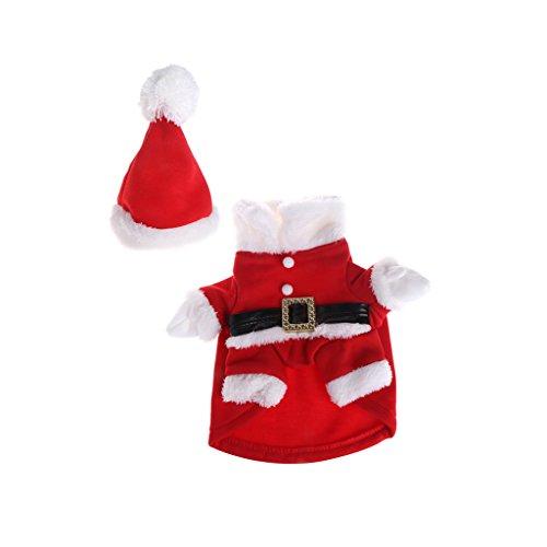 Ludzzi Haustier-Kostüm, Weihnachten, mit Hut, Katze, Hund, Weihnachtsmann, süßes Cosplay, Mantel Outfit, Kleidung mit Knöpfen (Frankenstein Und Frau Kostüm)