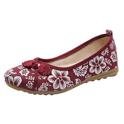 Wawer Mode 2019 Flache Sandalen Frauen Damen Floral Runde Kappe Flache Müßiggänger Casual Segeltuchschuhe Outdoor Schuhe Hausschuhe Böhmischen Floral Peep-toe-heels