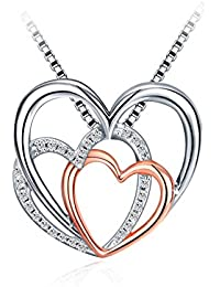 "Silver Heart Necklace, 925 Sterling Silver 5A Zirconia J.Rosée Pendant Necklace ""Hearts Together"" Mother's Day Gift Best Gift for Women Gift Packed 18""+2""Extender"