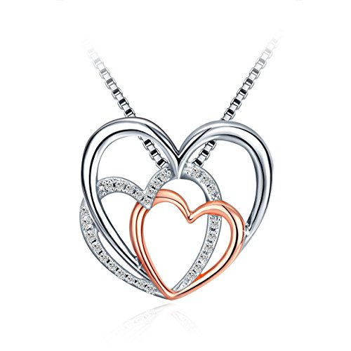 Silver Heart Necklace for Women,...