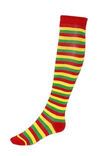 Clown Kostüm Accessoires - erdbeerclown - Clown Kostüm Accessoire- lange gestreifte Socken, Erwachsene, Mehrfarbig