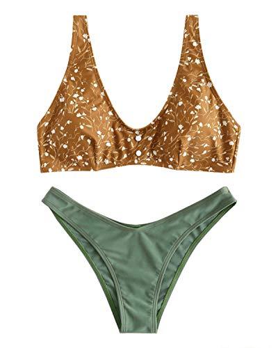 ZAFUL Damen Bikini-Set U-Ausschnitt Blumenmuster Kontrast niedriger Taille Bademode Badeanzug Swimwear Swimsuit Bikinis Set Small Hellbraun