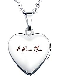 """'Yumi Lok Acero Inoxidable """"I love you grabado Foto medallón ovalado Photo imágenes Amuleto Plata Colores Rosa/Azul Corazón Colgante Collar para mujer Chica"""