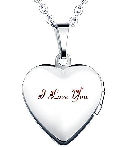 Yumilok Jewelry collier pendentif de photo en acier inoxydable au titane le cœur peut ouvrir et les mots