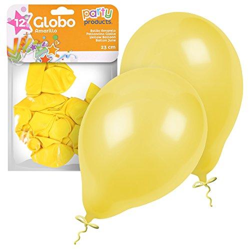 Party - Pack 12 globos, 23 cm, color amarillo (68379)