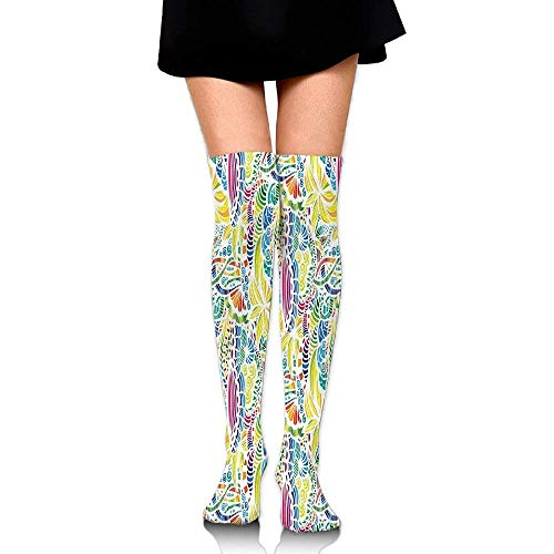 Colorful Shapes And White Backdrop Mosaic Floral Flower Women's Fashion Over The Knee High Socks (65cm)