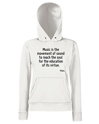 T-Shirtshock - Sweats a capuche Femme CIT0163 Music is the movement of sound to reach the soul for the education of its virtue. Blanc