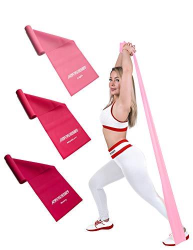 ActiveVikings Fitnessbänder Set 3-Stärken 2,0m Länge | Ideal für Muskelaufbau Physiotherapie Pilates Yoga Gymnastik und Crossfit | Fitnessband Gymnastikband Widerstandsband