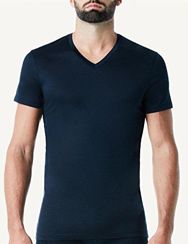 Intimissimi Herren Halbarm-Shirt mit V-Ausschnitt aus mercerisierter Baumwolle Blau - 800