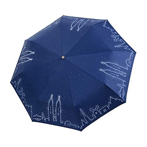 Dylandy Faltbarer Outdoor-Sonnenschirm, architektonischer Druck, zusammenklappbar, mit schwarzem Allwetter-Leichtgewicht, robust, kompakt, tragbar für Damen blau, 29 cm / 98 * 69 cm