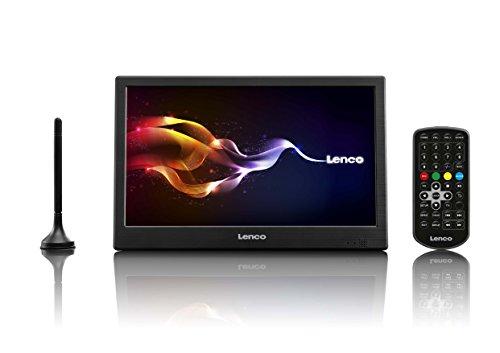 Lenco DVBT2 Fernseher TFT-1038 Tragbarer 10 Zoll (25,5 cm) HD LED-TV mit 12V Adapter, Schwarz