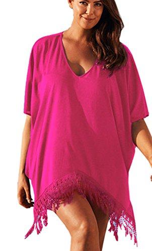 EAAMU® Damen Frauen Sommer große größen Strandkleid Oversize Shirt Bikini Cover Up Strandponcho Bademode Rot