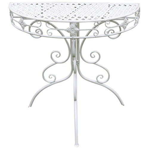 Table d'appoint sidetable Table de jardin Table de balcon maison de campagne shabby 83 cm Blanc vieilli