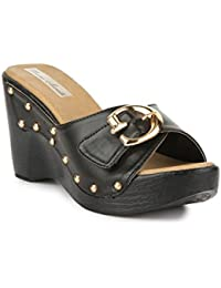 Bruno Manetti Women Black (JF-3) Faux Leather Wedges