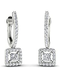 Stylori 18k (750) Gold and Diamond Drop Earrings