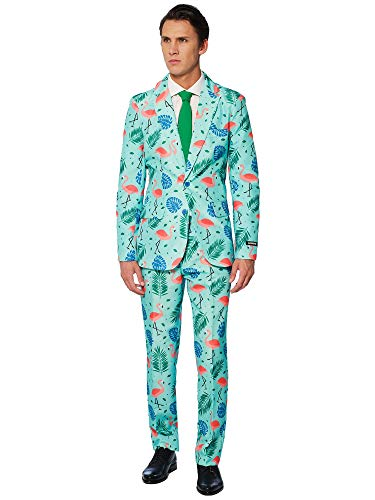 Suitmeister Faschingskostüme für Herren - Mit Jackett, Hose und Krawatte mit Festlichen Print, Tropical XL - Tropical Print