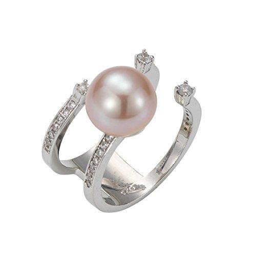 la mia Adriana perla donna-anello in argento 925 rodiato con zirconi colore PREMIUM brillante acqua dolce-acqua dolce Rosa taglia 54 (17,2) - PR7-44