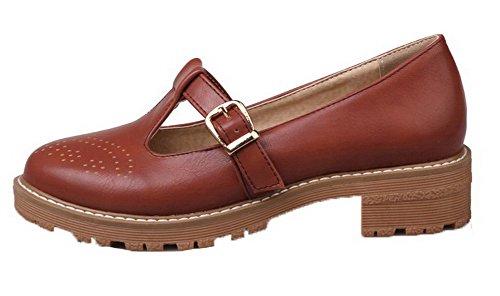 AgooLar Femme à Talon Bas PU Cuir Couleur Unie Lacet Rond Chaussures Légeres Brun