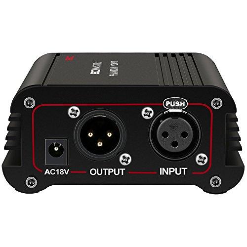 BC Master PP01 48V Phantomspeisung mit einem Port für jedes Kondensatormikrofon Music Recording Equipment, Schwarz