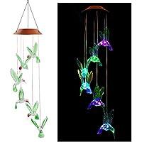 HTIANC LED Campanas de viento solar Móvil de viento de jardín Carrillón móvil de pajaritos Luces coloridas Colgar en el jardín dormitorio y sala ect