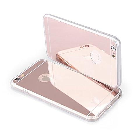 Coque etui de protection iphone 7 silicone gel semi rigide effet miroir OR rose + film d'écran en verre BACK CASE