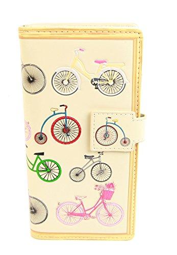 Shagwear portafoglio per giovani donne , Large Purse : Diversi colori e design : biciclette beige/ Bicycles