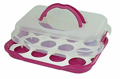 Cupcake-Butler Für 12 Cupcakes, Transportbox Für Cupcakes Und Muffins, Party-Butler, Partycontainer, Kuchentransportbehälter, Pink Cake Butler