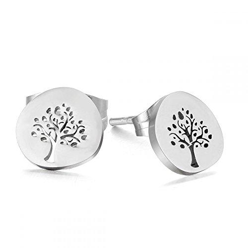 "Ohrstecker""Baum des Lebens"" Edelstahl Lebensbaum tree of Life Silber Gold Rosegold Yogaschmuck"