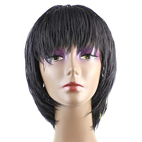 MWIG Handgewebte Zopfperücke Kurze Bob Cornrows Verrückte Frisur mit abgehacktem Pony Synthetische Perücken für Frauen Party Black