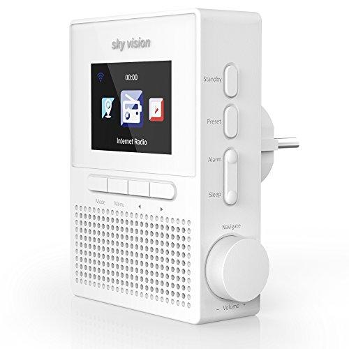 sky vision IR 61 W – Internet-Radio für die Steckdose (Steckdosen-Radio mit WLAN, Plug Web-Radio mit über 25.000 Radiosendern, Bedienung per App, als Radio-Wecker verwendbar), weiß