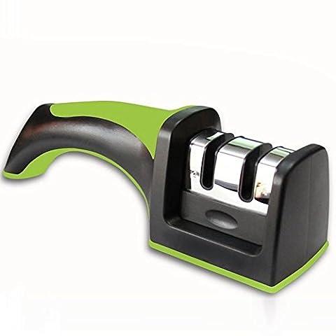 Poignée ergonomique 2étapes d'affûtage aiguiseur professionnel Idéal pour cuisine, design ergonomique vert