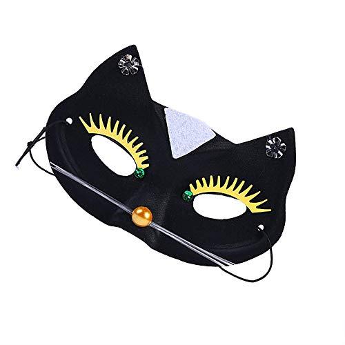 Fliyeong Venezianische Maskerade Maske Frauen Schwarze Katze Spitze Maske Halloween Kostüm Party Mädchen Frauen Langlebig und Nützlich - Katze Maske Schwarze Maskerade