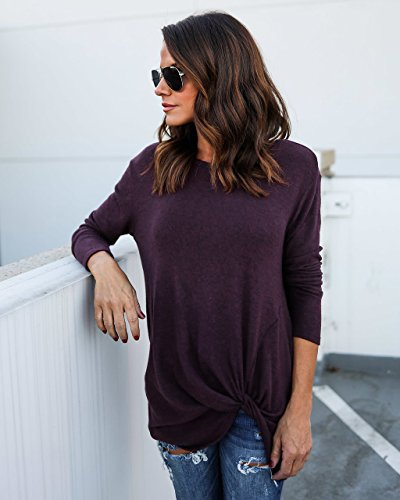 Cindeyar Blouse Femme Hiver Casual Lâche Rayures Tricot Tee Shirt Manches Longues Coton Pull Top Haut Mode Violet