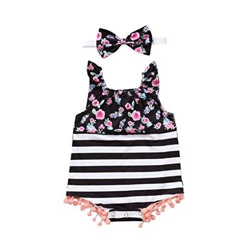 (culater) ❤️❤2018 vestito estivo per bambina con motivo a righe stampato a fiori bambina ❤️❤ completo per bambina (0-6 mesi, nero)