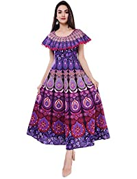 Dhruvi Casual Cotton Long Maxi Dress for Women with Pom Pom (Free Size Up to 44)