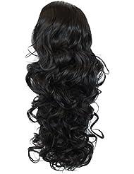 PRETTYSHOP Clip sur l'extension postiche Pièce de cheveux ondulé Look naturel fibres résistant à la chaleur 55cm noir #1 PH9