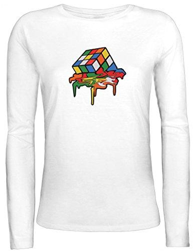 Zauberwürfel Damen Longsleeve Langarm T-Shirt mit Magic Cube Melting Motiv Weiß