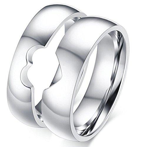 Epinki Herren Ringe, Trauringe Edelstahl Herrenringe Für Paare Herz Puzzle Eheringe mit Zirkonia Gr.57 (18.1) (Medusa Kostüme Paare)
