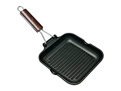 Home Delizia Grill pan non-stick with bendable handle, aluminum, black, 20x20 cm