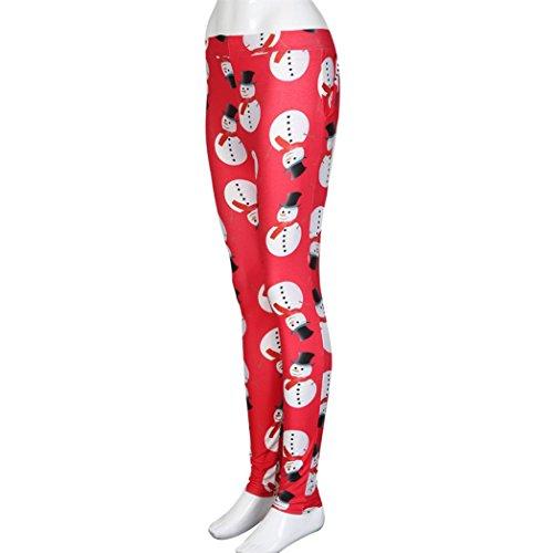 Ouneed® Femme Noel Costume Imprime Legging Rouge en Polyester a