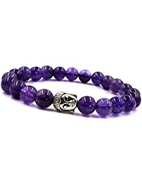 Young & Forever valentine gifts special D'vine Collection Buddha Beads Amethyst Stone Bracelet For Girls / Women / Men / Boys B661