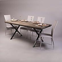 Patas de madera de forma de X Industrial Mesa De Comedor, Fernanda (Brown)-Graphite Grey (Powder coated), 6 seater W150xD75xH75cm