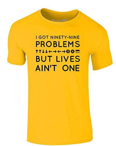 Brand88 - A Lotta Lives, Erwachsene Gedrucktes T-Shirt Gänseblümchen-Gelb/Schwarz