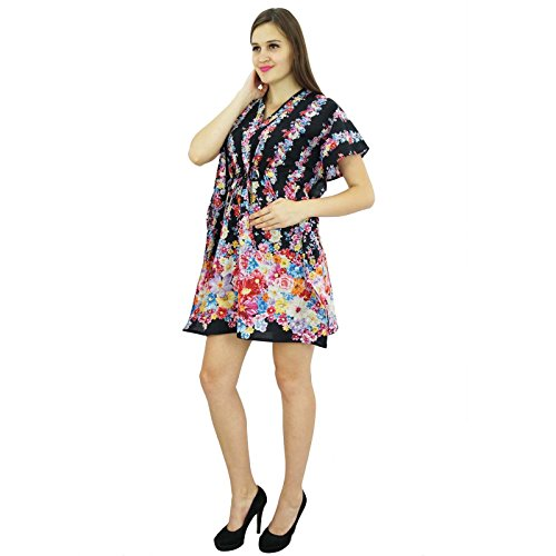 Bimba Women Short Cotton Robe mit Blumenmuster-Brautjungfer Vorbereitungen Robe Schwarz