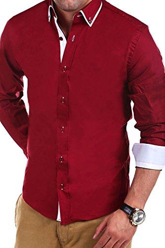 MT Styles Hemd Slim Fit Kontrast BH-320 Rot