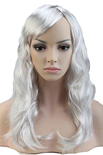 S-noilite® Nouvelle Perruque Cheveux synthétiques Femme 48cm Longue Ondulée Avec frange Pour La vie quotidienne Cosplay Déguisement Costume - Couleur:Gris argenté