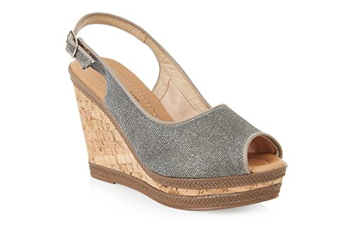 Piccadilly 805052confortable haute Wedge Sandal Argent - argent
