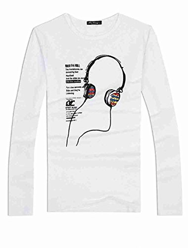 Move&Moving(TM) Man Long Sleeved Round Neck Earphone Letters Printed Tee Shirt